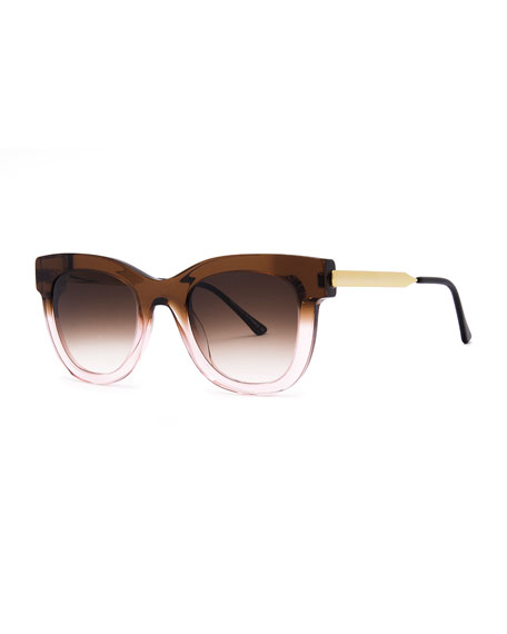 Sexxxy Ombre Acetate/Metal Sunglasses, Pink/Brown