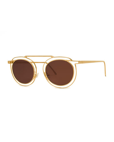 Potentially Cutout Round Sunglasses, Yellow