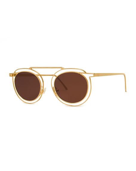 Potentially Cutout Round Sunglasses, Yellow