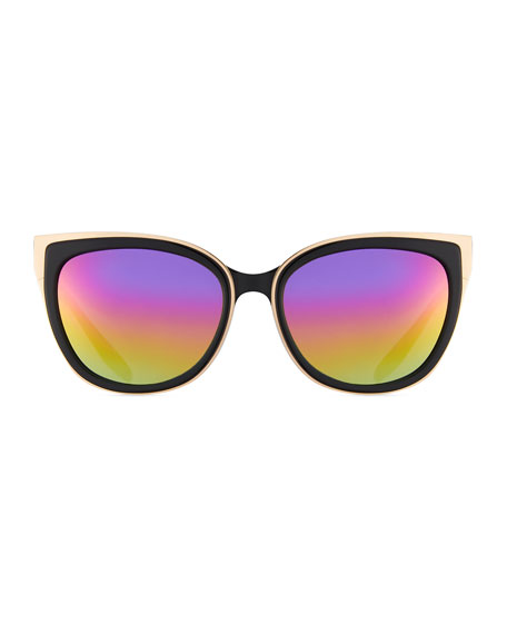 Winette Two-Tone Cat-Eye Mirrored Sunglasses