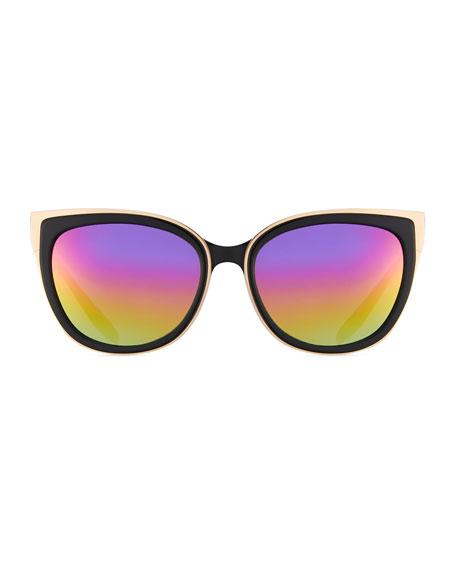 Winette Two-Tone Cat-Eye Mirrored Sunglasses