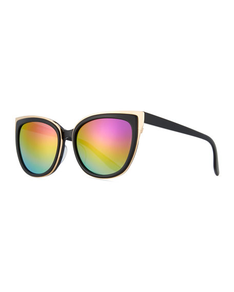 Barton Perreira Winette Two-Tone Cat-Eye Mirrored Sunglasses