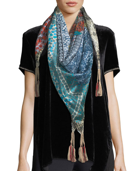 Johnny Was Voloom Floral-Print Silk Scarf and Matching