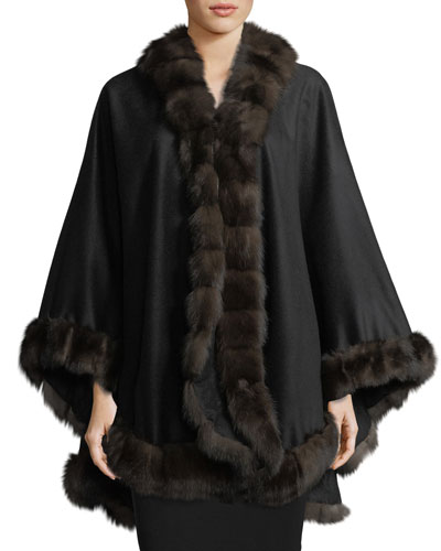 Cashmere Cape w/ Sable Fur Trim