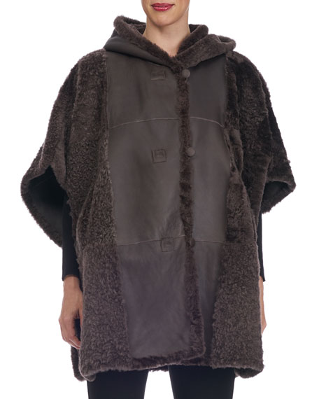 Reversible Hooded Button-Front Shearling Cape