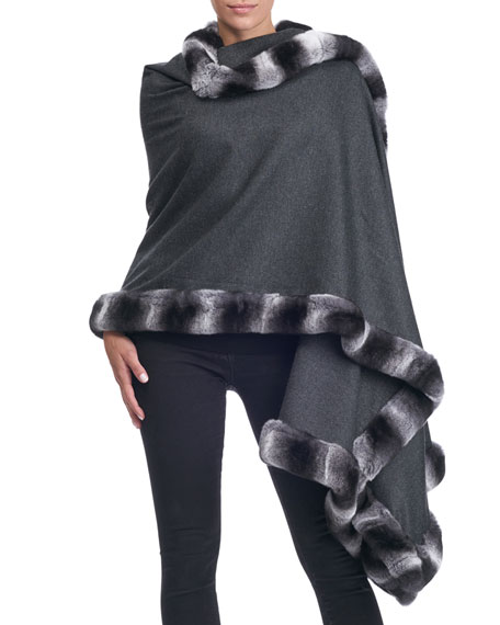 Cashmere Cape with Rabbit Fur Trim
