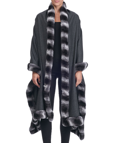 Giuliana Teso Cashmere Cape with Rabbit Fur Trim