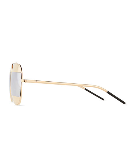 DiorSplit Two-Tone Metallic Aviator Sunglasses