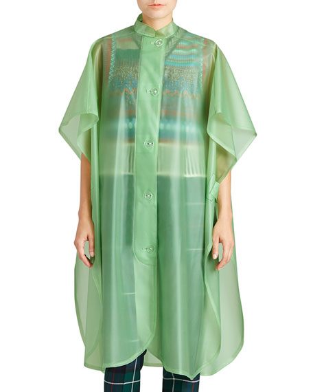Burberry Mandarin-Collar Button-Front Poncho, Light Green