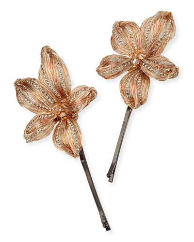 Mesh Botanical Bobby Pins, Set of 2