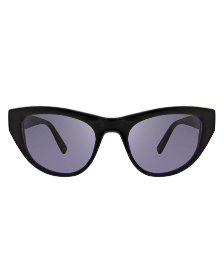 Sienna Acetate Butterfly Sunglasses w/ Metal Trim