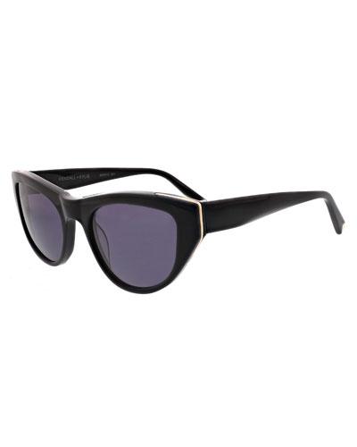 Sienna Acetate Butterfly Sunglasses w/ Metal Trim
