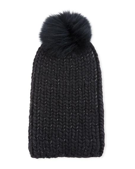 Eugenia Kim Rain Fur-Pompom Beanie Hat