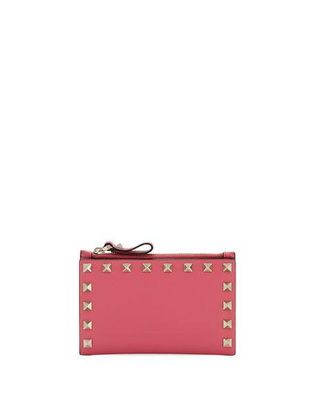 Valentino Garavani Rockstud Leather Zip Coin Purse/Card Holder