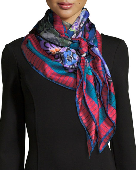 JANE CARR The DÉCoupage Silk Twill Square Scarf in Multi