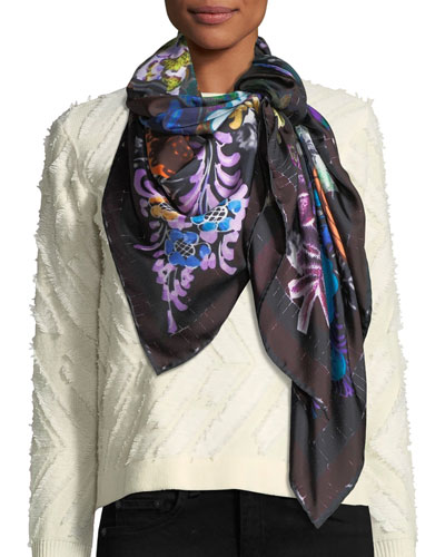 The Decoupage Silk Twill Square Scarf