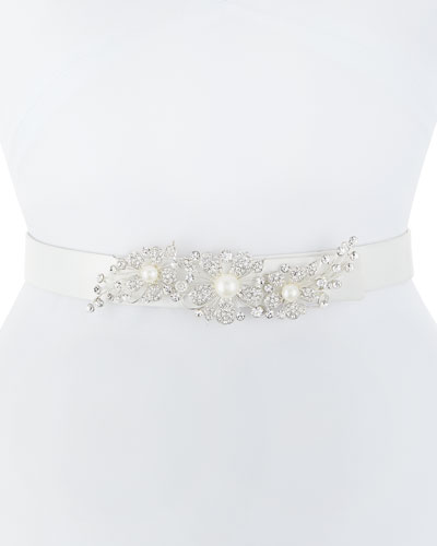 Adele Satin Belt with Crystal Floral Motif
