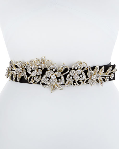Elena Satin Belt with Crystal Floral Motif