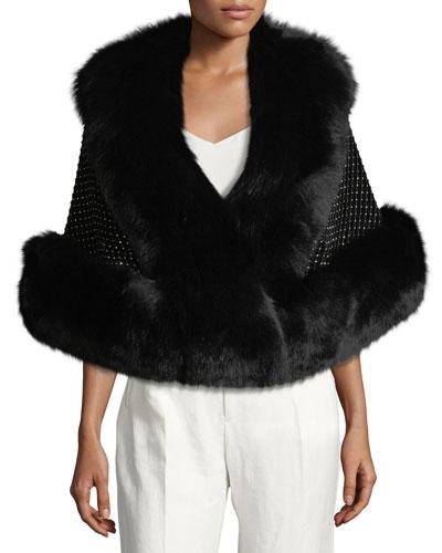 Velvet Crystal-Mesh Overlay Capelet w/ For Fur Trim