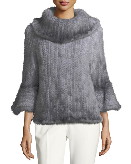 Knit Fur Bell-Sleeve Poncho, Blue
