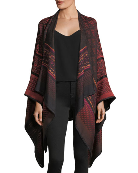 Missoni Mantel Zigzag Knit Cape, Wine