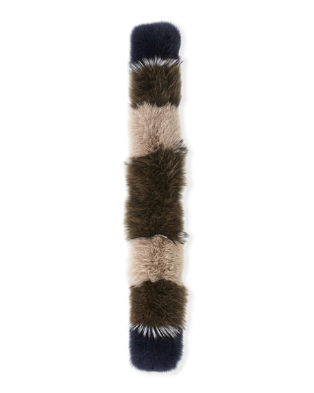 Fur Pull-Through Scarf, Multi Pattern