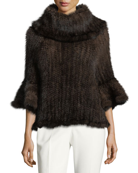 Knit Fur Bell-Sleeve Poncho, Brown