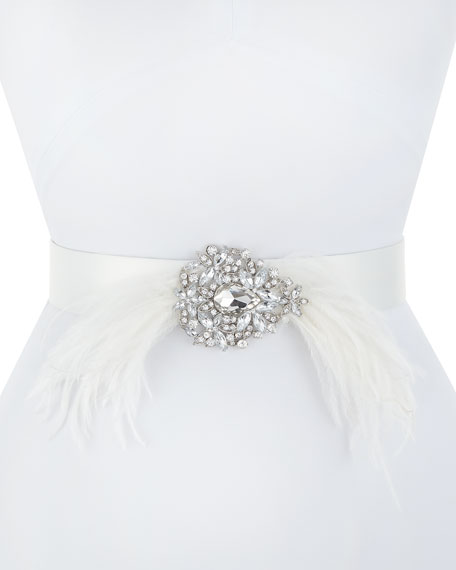DEBORAH DRATTELL Thais Satin Belt With Feathers & Crystals in Ivory