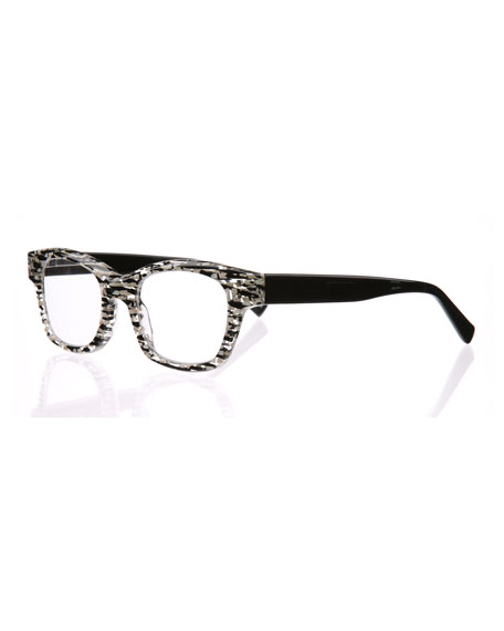 Eyebobs Fizz Ed Two-Tone Square Readers, Black/White