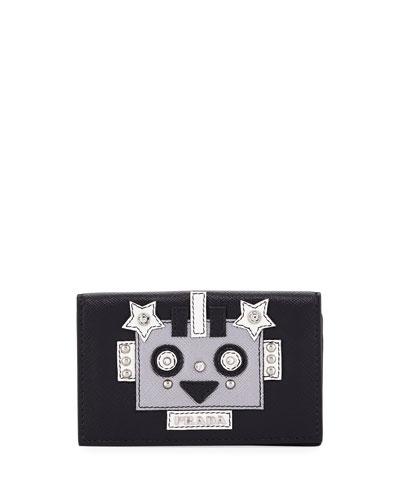 Robot Saffiano Flap Card Case