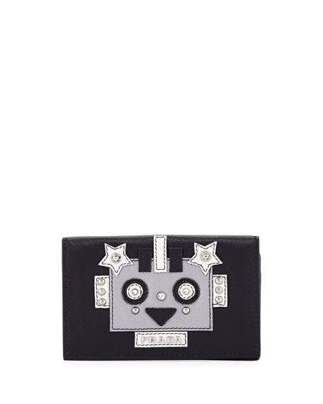 Robot Saffiano Flap Card Case