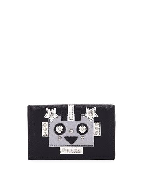 Prada Robot Saffiano Flap Card Case
