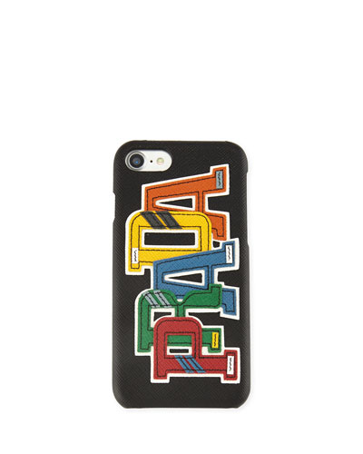 Saffiano Logo Patch iPhone 7 Case