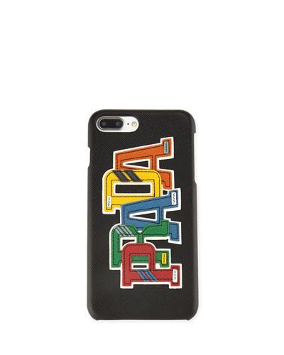 Saffiano Logo Patch iPhone 7 Plus Case