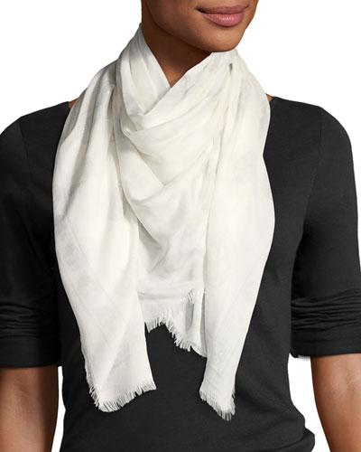 Skull Modal-Silk Scarf, White Pattern