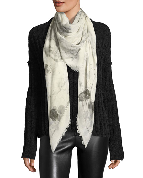 Alexander McQueen Skull & Roses Black Magic Scarf,