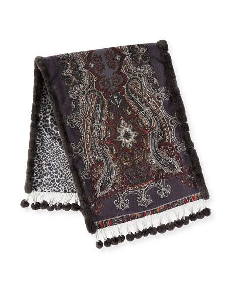 Paisley Cashmere Stole w/ Fur Trim, Gray Pattern