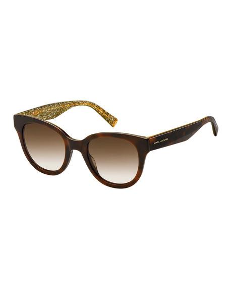 Round Gradient Sunglasses w/ Glittered Interior, Brown Pattern