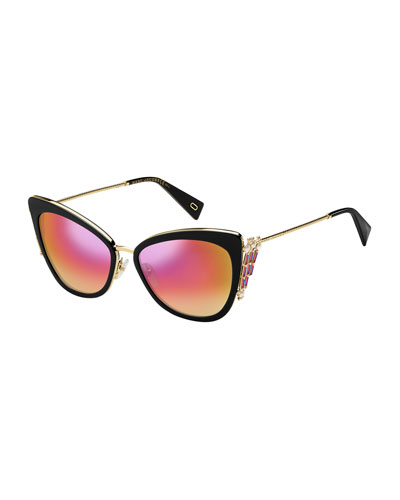 Embellished Mirrored Cat-Eye Sunglasses