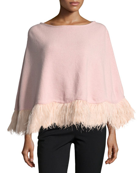 Cashmere Poncho w/ Ostrich Feather Trim, Light Pink