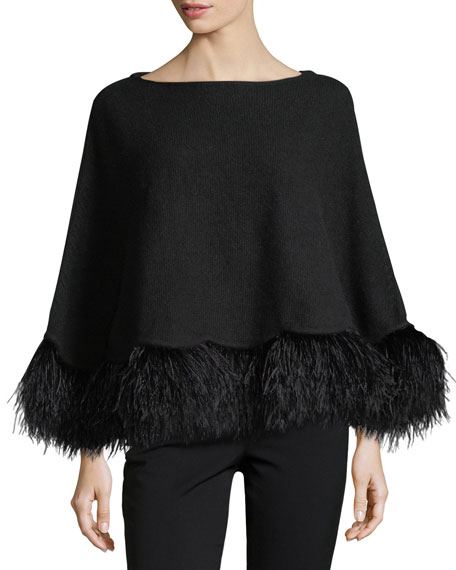 Cashmere Poncho w/ Ostrich Feather Trim, Black
