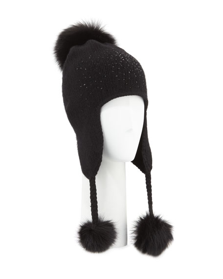 Carolyn Rowan Cashmere Crystal-Embellished Trapper Hat w/ Fur