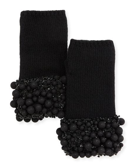 Ball & Crystal Cuff Fingerless Gloves