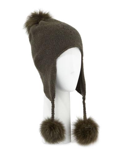 Cashmere Crystal-Embellished Trapper Hat w/ Fur Pompoms