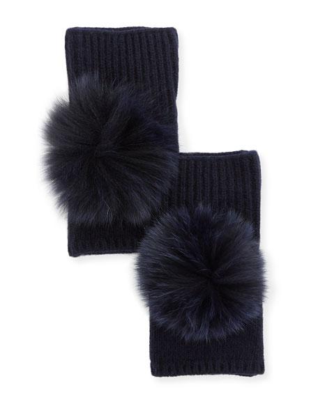 Fingerless Cashmere Gloves w/ Fur Pompoms, Navy