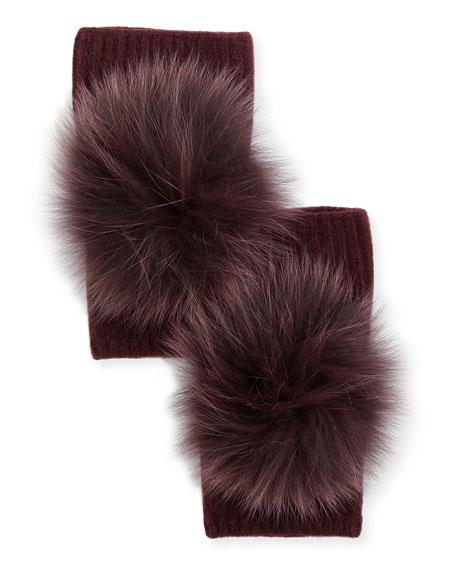Carolyn Rowan Fingerless Cashmere Gloves w/ Fur Pompoms,