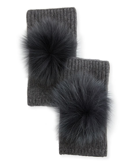 Fingerless Cashmere Gloves w/ Fur Pompoms, Dark Gray