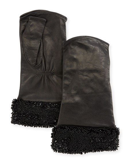 Carolyn Rowan Fingerless Leather Gloves w/ Shiny Camo