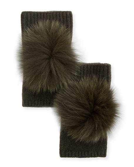 Carolyn Rowan Fingerless Cashmere Gloves w/ Fur Pompoms,