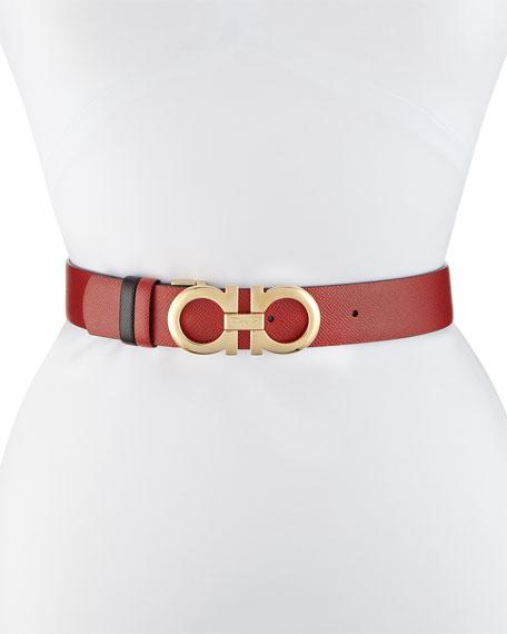 Gancini-Buckle Leather Belt, Red
